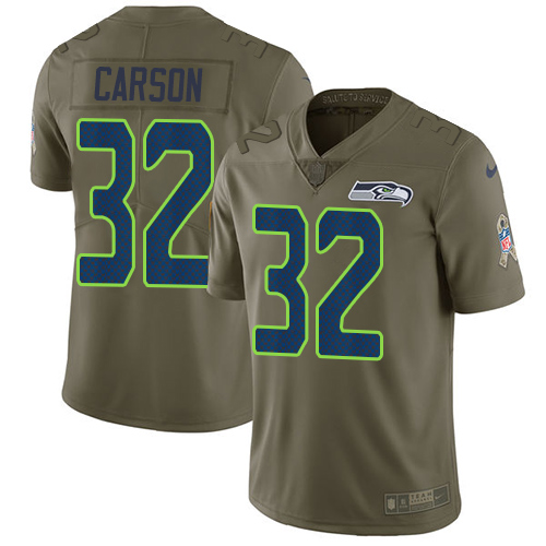 Nike Seahawks #32 Chris Carson Olive Men's Stitched NFL Limited 2017 Salute To Service Jersey