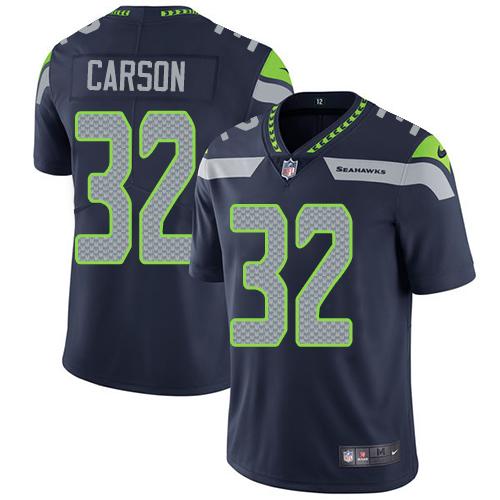 Nike Seahawks #32 Chris Carson Steel Blue Team Color Men's Stitched NFL Vapor Untouchable Limited Jersey