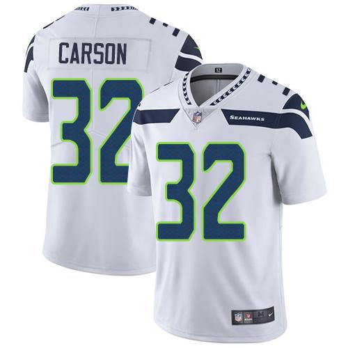 Nike Seahawks #32 Chris Carson White Men's Stitched NFL Vapor Untouchable Limited Jersey
