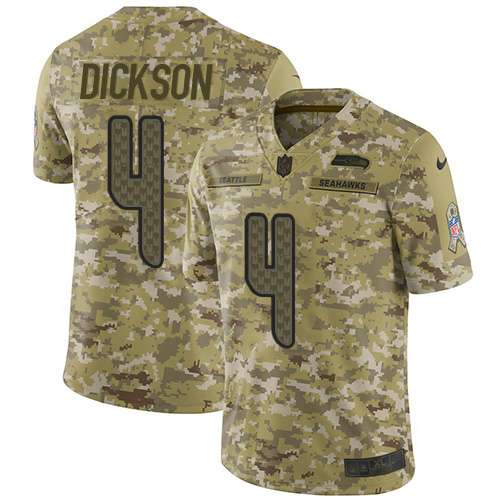 Nike Seahawks #4 Michael Dickson Camo Youth Stitched NFL Limited 2018 Salute to Service Jersey