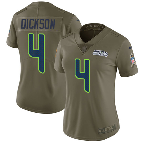 Nike Seahawks #4 Michael Dickson Olive Women's Stitched NFL Limited 2017 Salute to Service Jersey