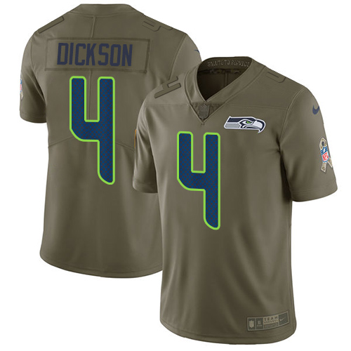 Nike Seahawks #4 Michael Dickson Olive Youth Stitched NFL Limited 2017 Salute to Service Jersey