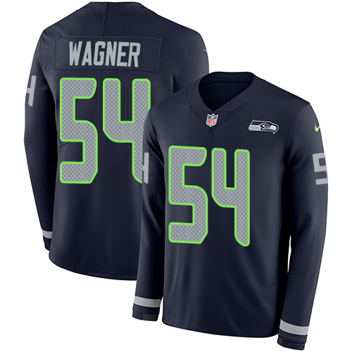 Nike Seahawks #54 Bobby Wagner Steel Blue Team Color Men's Stitched NFL Limited Therma Long Sleeve Jersey