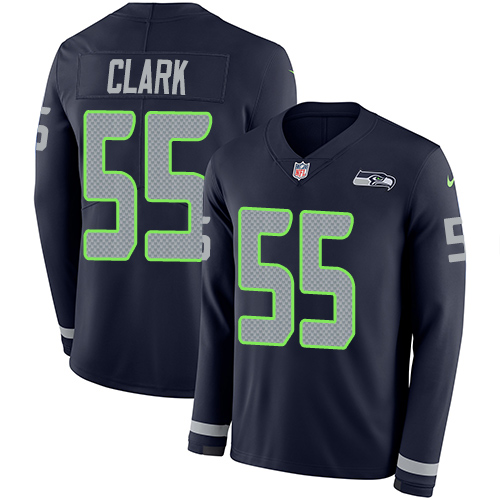 Nike Seahawks #55 Frank Clark Steel Blue Team Color Men's Stitched NFL Limited Therma Long Sleeve Jersey