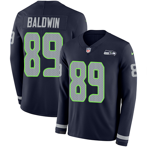 Nike Seahawks #89 Doug Baldwin Steel Blue Team Color Men's Stitched NFL Limited Therma Long Sleeve Jersey