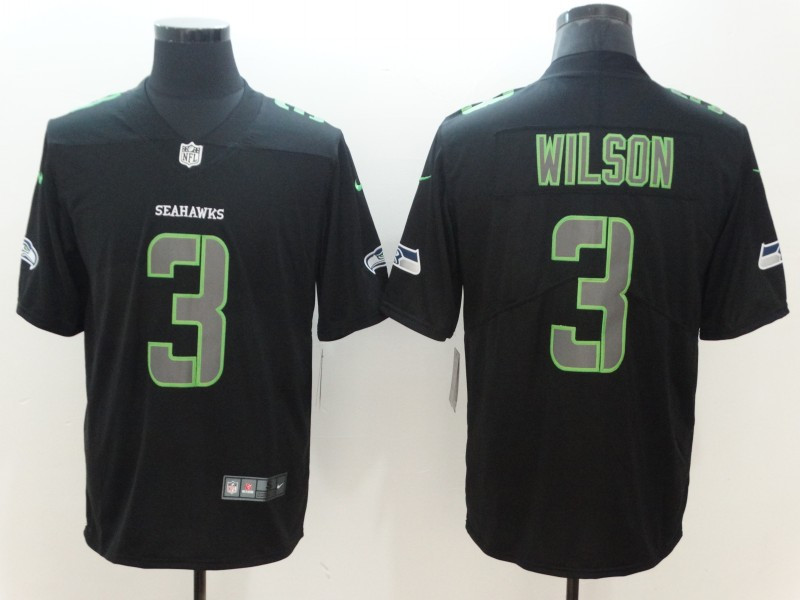 Nike Seahawks 3 Russell Wilson Black Impact Limited Jersey