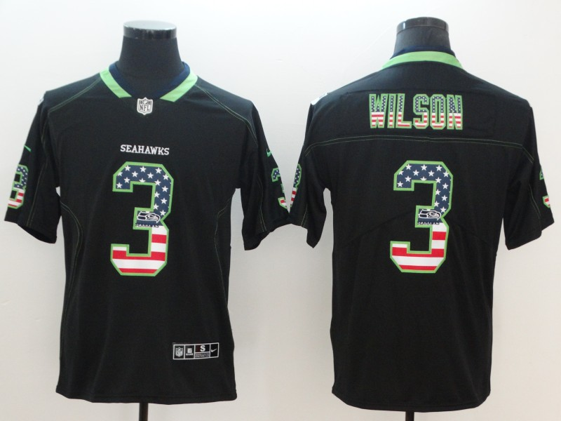 Nike Seahawks 3 Russell Wilson Black USA Flag Fashion Color Rush Limited Jersey