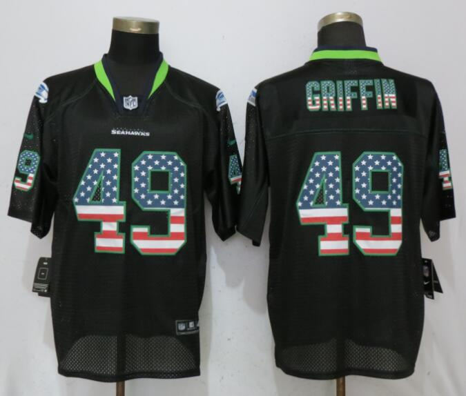 Nike Seahawks 49 Shaquill Griffin Black USA Flag Fashion Elite Jersey