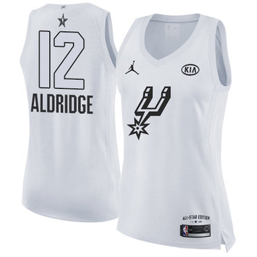 Nike Spurs #12 LaMarcus Aldridge White Women's NBA Jordan Swingman 2018 All-Star Game Jersey