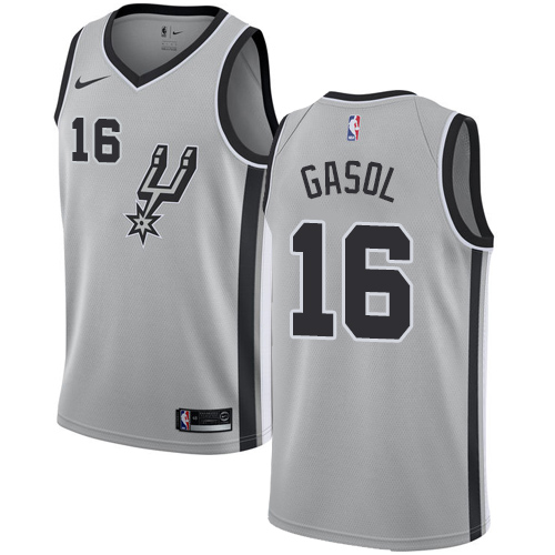 Nike Spurs #16 Pau Gasol Silver NBA Swingman Statement Edition Jersey