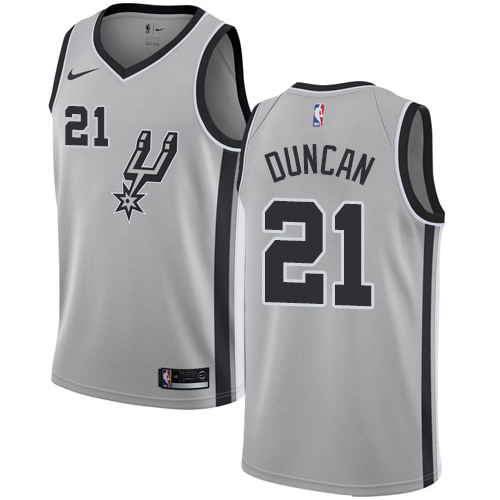 Nike Spurs #21 Tim Duncan Silver NBA Swingman Statement Edition Jersey