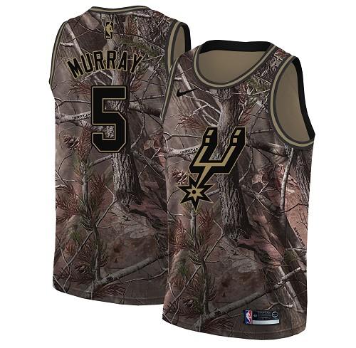 Nike Spurs #5 Dejounte Murray Camo NBA Swingman Realtree Collection Jersey