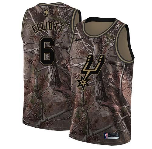 Nike Spurs #6 Sean Elliott Camo NBA Swingman Realtree Collection Jersey