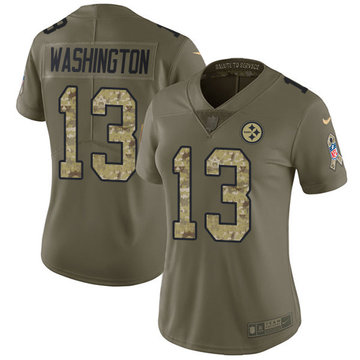 Nike Steelers #13 James Washington Olive Camo Women's Stitched NFL Limited 2017 Salute to Service Jersey