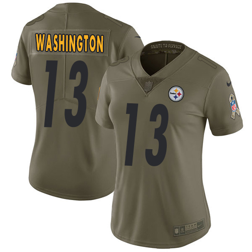 Nike Steelers #13 James Washington Olive Women's Stitched NFL Limited 2017 Salute to Service Jersey