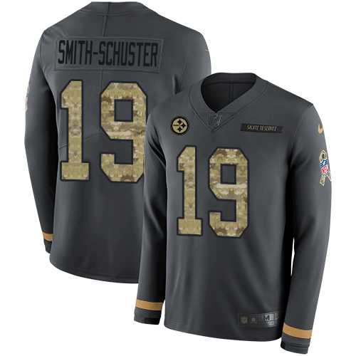 Nike Steelers #19 JuJu Smith-Schuster Anthracite Salute to Service Men's Stitched NFL Limited Therma Long Sleeve Jersey