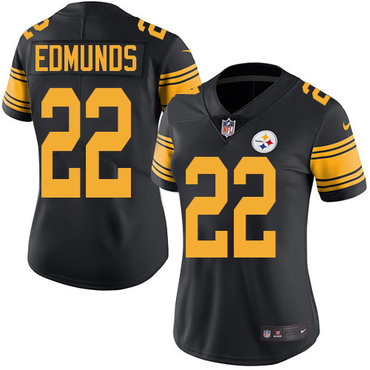 Nike Steelers #22 Terrell Edmunds Black Women's Stitched NFL Limited Rush Jersey