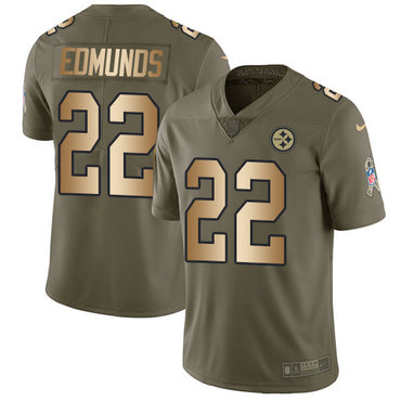 Nike Steelers #22 Terrell Edmunds Olive Gold Youth Stitched NFL Limited 2017 Salute to Service Jersey