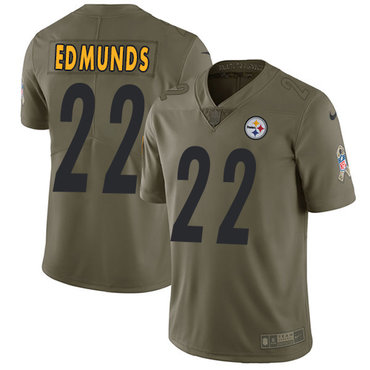 Nike Steelers #22 Terrell Edmunds Olive Youth Stitched NFL Limited 2017 Salute to Service Jersey