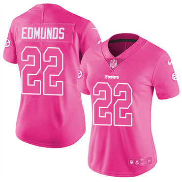 Nike Steelers #22 Terrell Edmunds Pink Women's Stitched NFL Limited Rush Fashion Jersey
