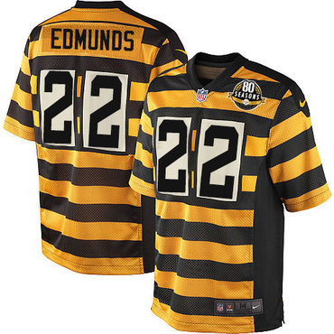 Nike Steelers #22 Terrell Edmunds Yellow Black Alternate Men's Stitched NFL 80TH Throwback Elite Jersey