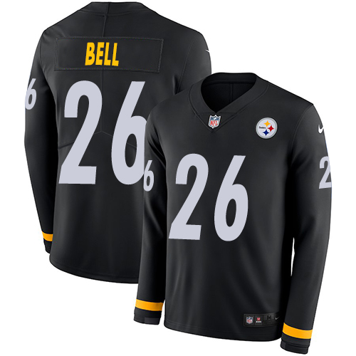 Nike Steelers #26 Le'Veon Bell Black Team Color Men's Stitched NFL Limited Therma Long Sleeve Jersey