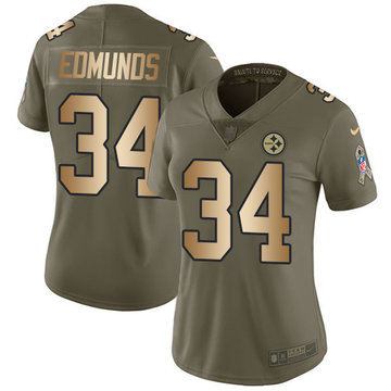 Nike Steelers #34 Terrell Edmunds Olive Gold Women's Stitched NFL Limited 2017 Salute to Service Jersey