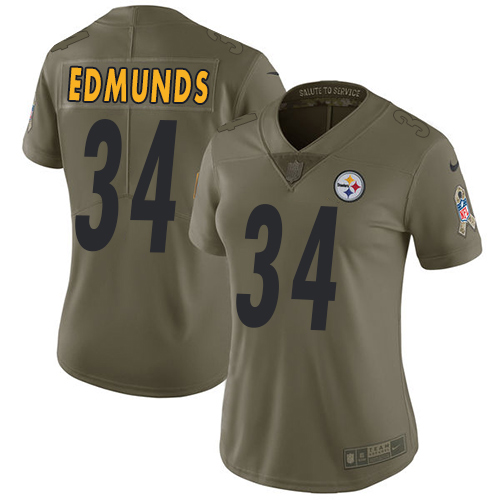 Nike Steelers #34 Terrell Edmunds Olive Women's Stitched NFL Limited 2017 Salute to Service Jersey