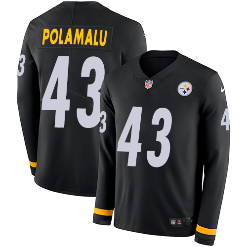 Nike Steelers #43 Troy Polamalu Black Team Color Men's Stitched NFL Limited Therma Long Sleeve Jersey