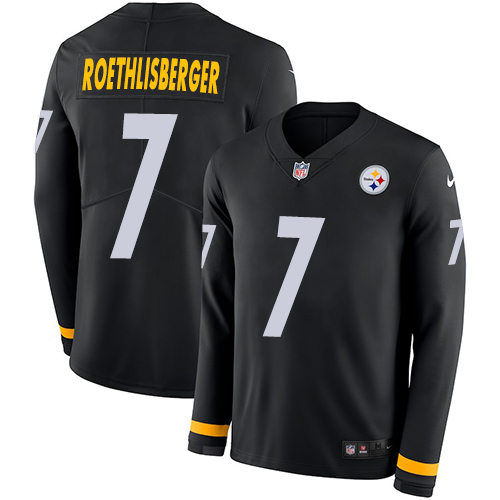 Nike Steelers #7 Ben Roethlisberger Black Team Color jerseyssite.net Men's Stitched NFL Limited Therma Long Sleeve Jersey