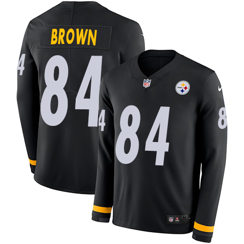 Nike Steelers #84 Antonio Brown Black Team Color Men's Stitched NFL Limited Therma Long Sleeve Jersey