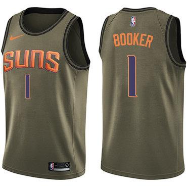 Nike Suns #1 Devin Booker Green Salute to Service NBA Swingman Jersey