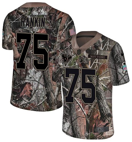 Nike Texans #75 Martinas Rankin Camo Men's Stitched NFL Limited Rush Realtree Jersey