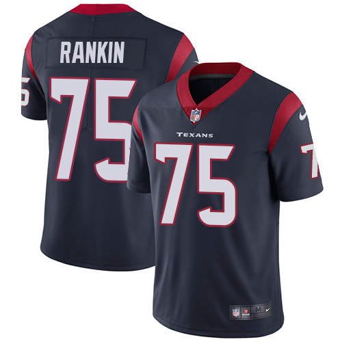 Nike Texans #75 Martinas Rankin Navy Blue Team Color Men's Stitched NFL Vapor Untouchable Limited Jersey