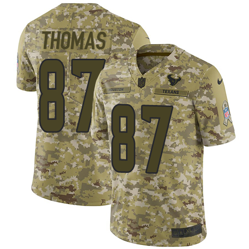 Nike Texans #87 Demaryius Thomas Camo Men's Stitched NFL Limited 2018 Salute To Service Jersey