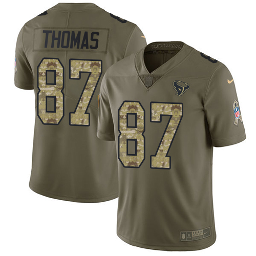 Nike Texans #87 Demaryius Thomas Olive Camo Men's Stitched NFL Limited 2017 Salute To Service Jersey