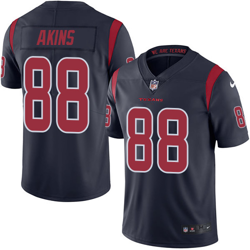 Nike Texans #88 Jordan Akins Navy Blue Men's Stitched NFL Limited Rush Jersey