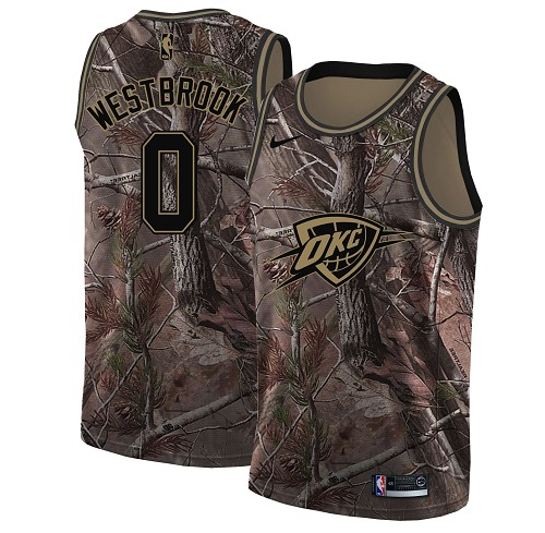 Nike Thunder #0 Russell Westbrook Camo Women's NBA Swingman Realtree Collection Jersey