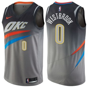 Nike Thunder #0 Russell Westbrook Gray NBA Swingman City Edition Jersey