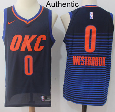 Nike Thunder #0 Russell Westbrook Navy Blue Statement Edition NBA Authentic Jersey