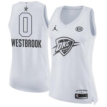 Nike Thunder #0 Russell Westbrook White Women's NBA Jordan Swingman 2018 All-Star Game Jersey