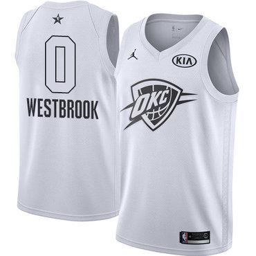 Nike Thunder #0 Russell Westbrook White Youth NBA Jordan Swingman 2018 All-Star Game Jersey
