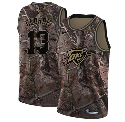 Nike Thunder #13 Paul George Camo Women's NBA Swingman Realtree Collection Jersey