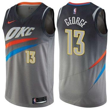 Nike Thunder #13 Paul George Gray NBA Swingman City Edition Jersey