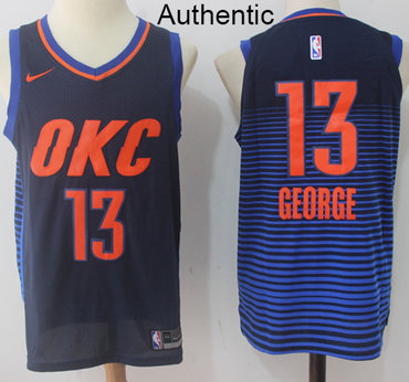 Nike Thunder #13 Paul George Navy Blue Statement Edition NBA Authentic Jersey