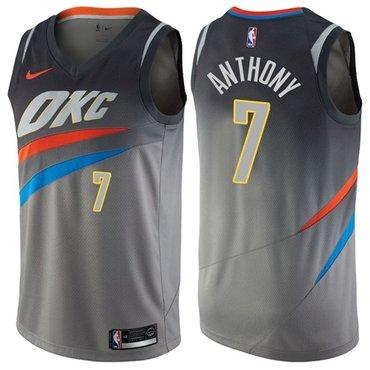 Nike Thunder #7 Carmelo Anthony Gray NBA Swingman City Edition Jersey