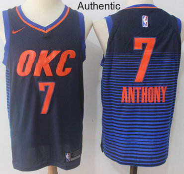 Nike Thunder #7 Carmelo Anthony Navy Blue Statement Edition NBA Authentic Jersey