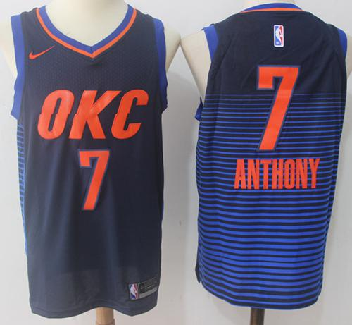 Nike Thunder #7 Carmelo Anthony Navy Blue Statement Edition NBA Swingman Jersey