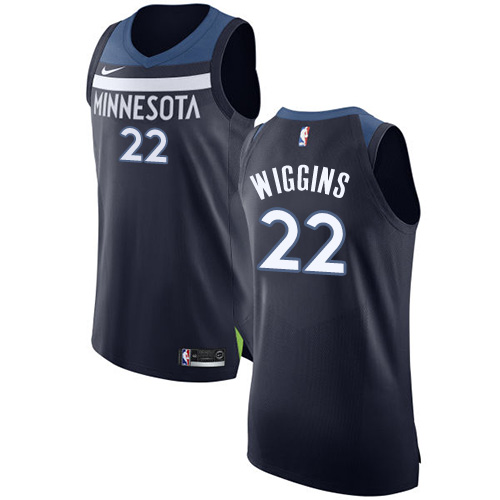 Nike Timberwolves #22 Andrew Wiggins Navy Blue NBA Authentic Icon Edition Jersey