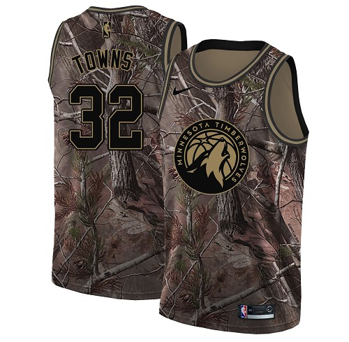 Nike Timberwolves #32 Karl-Anthony Towns Camo Women's NBA Swingman Realtree Collection Jersey